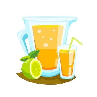 Batido do suco de laranja em uma caneca do frasco de pedreiro.