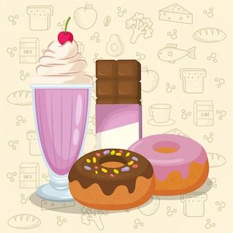Batido e donuts com barra de chocolate