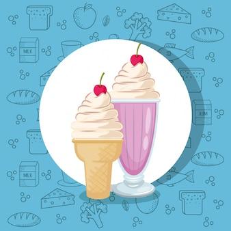 Batido e sorvete