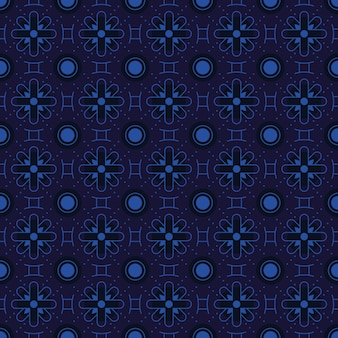Batik clássico sem costura de fundo. papel de parede de mandala geométrica de luxo. elegante motivo floral tradicional na cor azul marinho