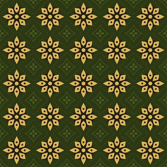 Batik clássico sem costura de fundo. papel de parede de mandala geométrica de luxo. elegante motivo floral tradicional na cor verde