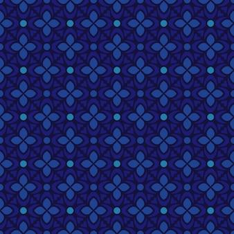 Batik clássico sem costura de fundo. papel de parede geométrico de luxo. elegante motivo floral tradicional na cor azul