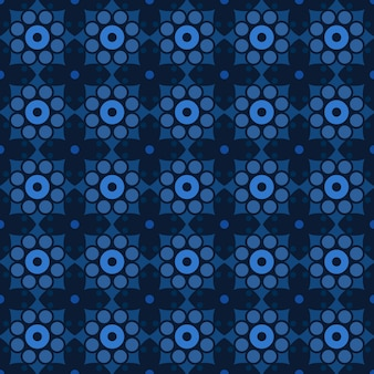 Batik clássico sem costura de fundo. papel de parede mandala geométrica de luxo. elegante motivo floral tradicional na cor azul escuro