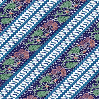 Batik de combinação indonésio com cor azul dominante