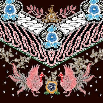 Batik de combinação indonésio com cor marrom dominante