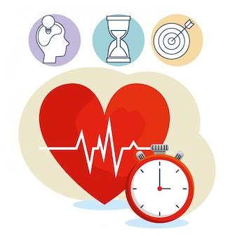 Batimento cardíaco com cronômetro para exercício de equilíbrio do estilo de vida