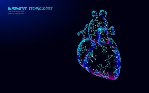 Batimentos cardíacos saudáveis 3d medicina low poly farmácia