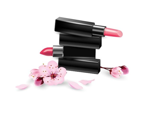 Batom com flores de cerejeira o conceito de maquiagem batom closeuptemplate vector
