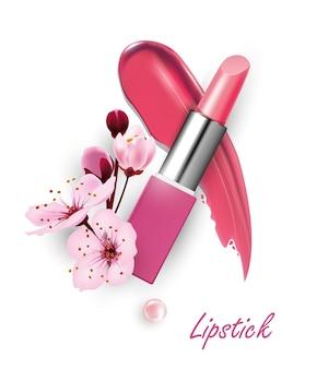 Batom com flores de cerejeira o conceito de maquiagem bela maquiagem modelo vetorial