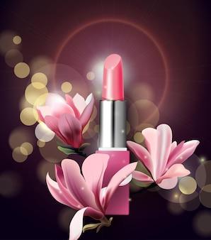 Batom com flores magnólia primavera e fundo de beleza modelo vetorial
