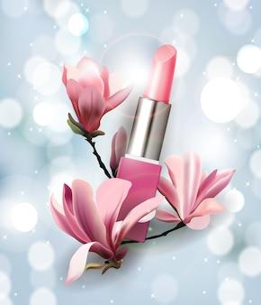 Batom com flores magnolia spring e fundo de belezatemplate vector