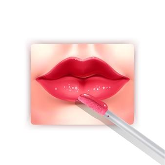 Batom líquido e lábios vermelhos realistas escovam o elemento da moda