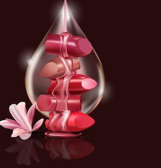 Batom quebrado de luxo feminino com uma gota de mel de óleo de rosa para maquiagem em fundo preto
