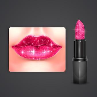 Batom rosa brilhante com design de embalagem cosmética de textura brilhante em ilustração 3d