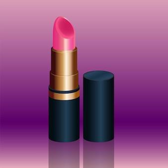 Batom rosa luxuoso isolado em fundo de cor violeta na ilustração 3d