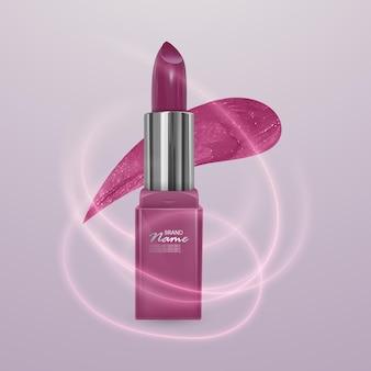 Batom rosa realista com luz, efeito neon. ilustração 3d, design cosmético moderno Vetor Premium