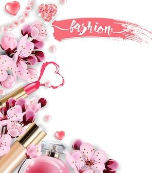 Batom vermelho e rosa em um fundo rosa fundo de beleza e cosméticos modelo de vetor