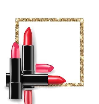 Batom vermelho e rosa no fundo da moldura dourada brilhante fundo de beleza e cosméticos