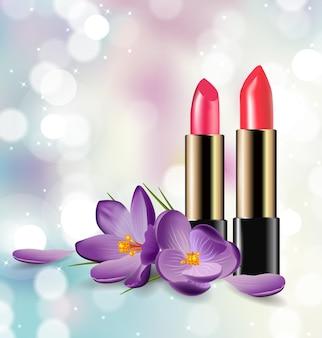 Batom vermelho e rosa no fundo desfocado com brilhos fundo de beleza e cosméticos.