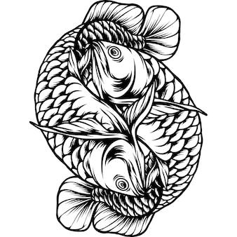 Battle arowana fish silhouette