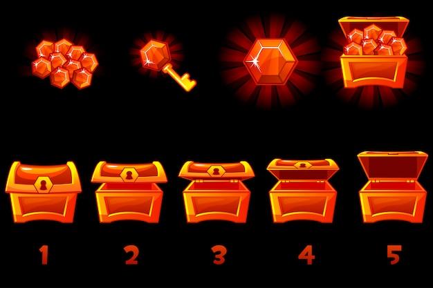 Baú animado com gema preciosa vermelha. caixa passo a passo, cheia e vazia, aberta e fechada. ícones em camadas separadas.