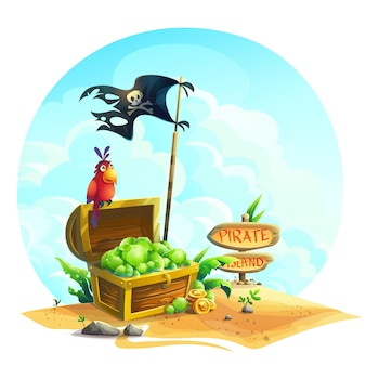 Baú com esmeraldas e um papagaio em um monte de areia sob as nuvens