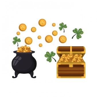 Baú com ícone isolado de moedas