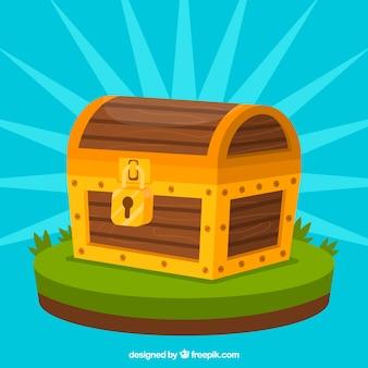 Baú de madeira com design plano