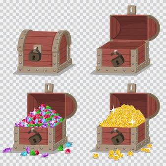 Baú de pirata de madeira com tesouros, moedas de ouro e pedras preciosas, vazio aberto e fechado com uma fechadura.