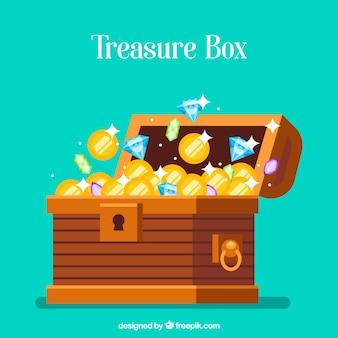 Baú de tesouro aberto com design plano