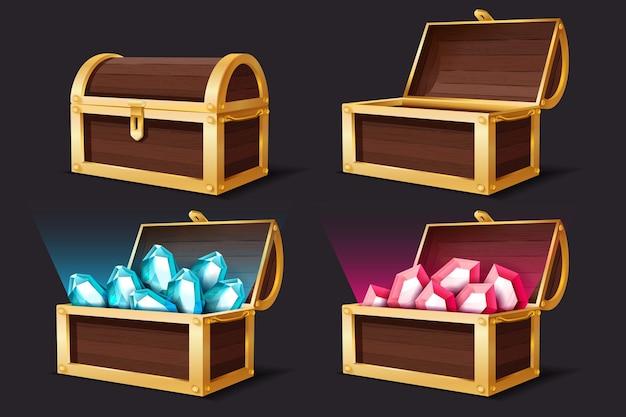 Baú de tesouro. arcas de ouro fechadas e abertas com joias de gemas. o pirata de mistério medieval estima a ilustração de rubi e topázio para o conjunto de vetores de desenhos animados do jogo