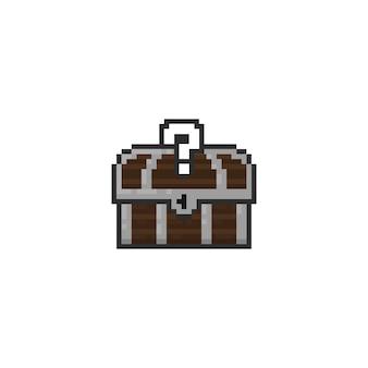 Baú de tesouro de pixel com sinal de pergunta