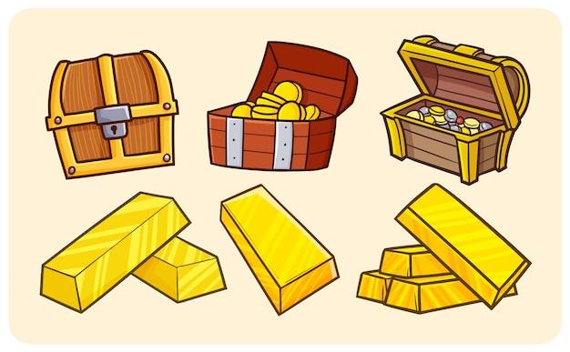 Baú de tesouro engraçado e barras de ouro em estilo simples de doodle
