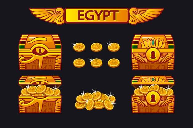Baú do tesouro antigo do egito e moedas de ouro