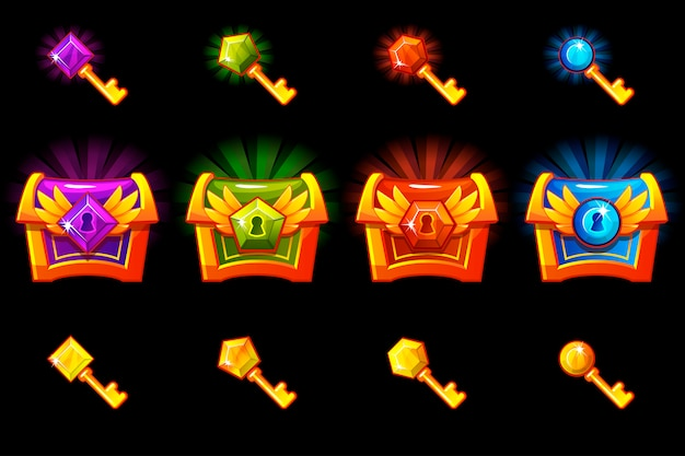 Baú do tesouro com pedras preciosas e chaves de ouro, ícones