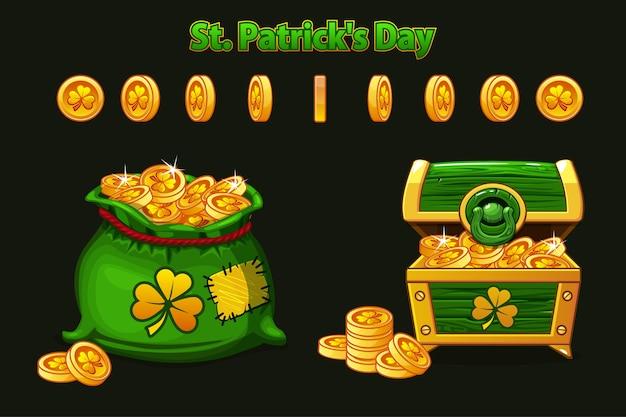 Baú do tesouro e bolsa de dinheiro em verde.