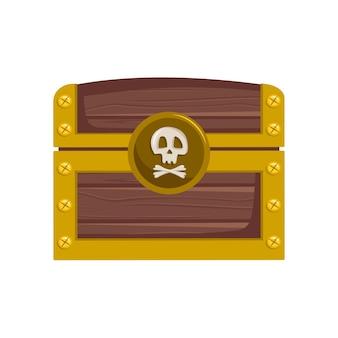 Baú do tesouro pirata com ícone de moedas de ouro para jogos e design infantil