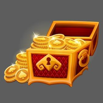 Baú dourado com moedas