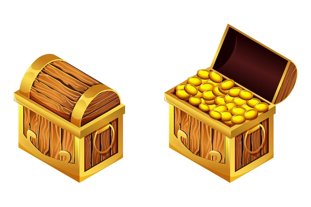 Baús de desenho isométrico com moedas de ouro