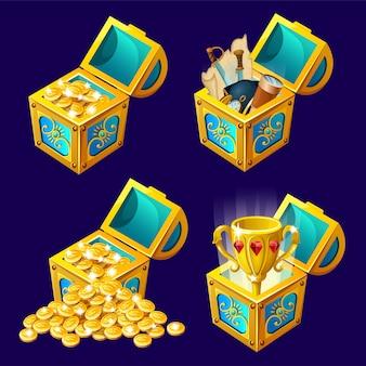Baús isométricos dos desenhos animados com tesouros.