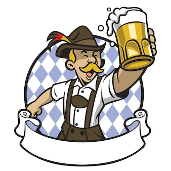 Bavarian, homem, celebrando, oktoberfest, com, um, grande, vidro cerveja