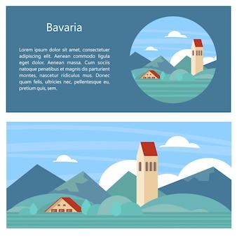 Baviera, alemanha. belas paisagens, arquitetura tradicional da baviera. castelos, aldeias, montanhas, campos. cartões postais, logotipos, emblemas com espaço para texto.