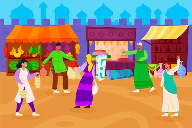 Bazar árabe com gente falando
