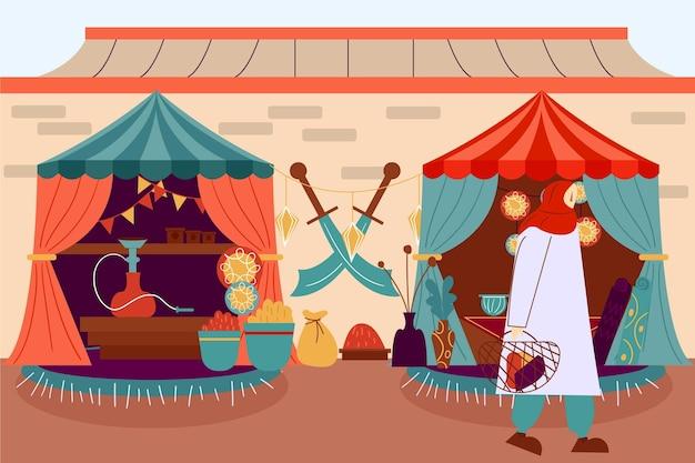 Bazar árabe em tendas fofas