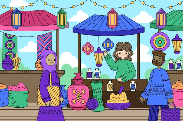 Bazar árabe gente feliz procurando produtos