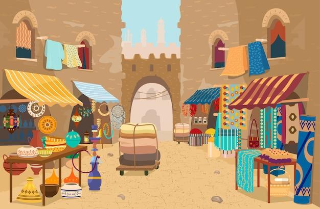 Bazar de rua asiático com diferentes lojas de cerâmica, tapetes e tecidos, especiarias, joias