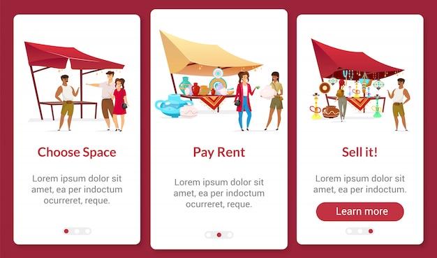 Bazar negócios onboarding app móvel tela plana modelo.
