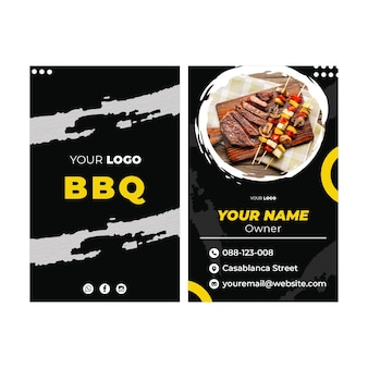 Bbq cartão de visita frente e verso vertical
