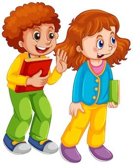 Bcute personagem de bot e garota estudante