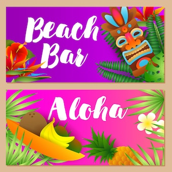 Beach bar, conjunto de letras aloha, frutas tropicais, máscara tribal